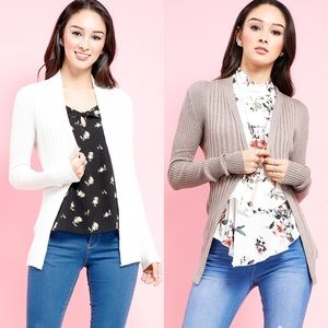 Ribbed Open Front work wear knit cardigan